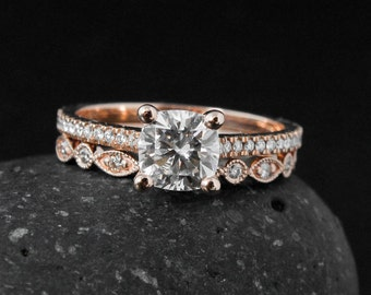 Moissanite Engagement Ring - 4 Prong Setting - Forever One Moissanite, Wedding Band Set
