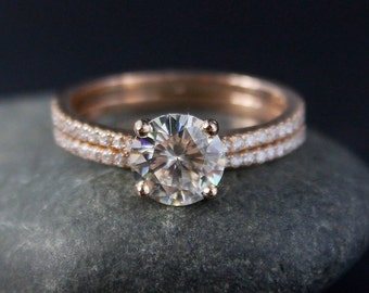 Rose Gold Moissanite Engagement Ring – Forever One D-E-F Colorless Moissanite - Half Eternity Band