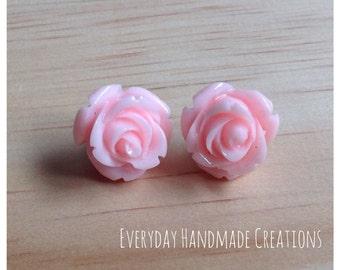 Rose Earrings - 15mm - Studs - Resin - Baby Pink - EHC1006