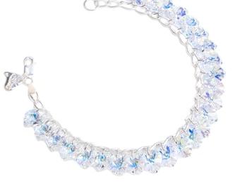 AB Heart to Heart Sterling Silver & SWAROVSKI crystal Charm Bracelet