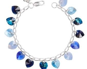 Blues Simple Hearts Sterling Silver & SWAROVSKI crystal Charm Bracelet