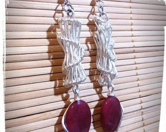 Silver plated earrings with Ruby