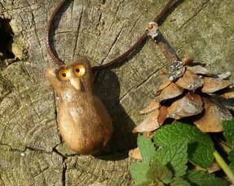 Brown Owl Pendant Stoneware Clay Handmade Unique Necklace