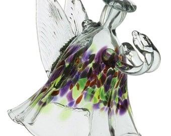 "ANGEL OF MEMORIES - Kitras Art Glass, Blown Glass Figurine - 4"" (ange-02-me)"