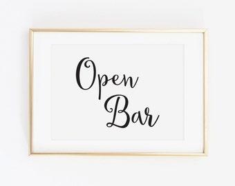 Wedding Drinks Sign, Wedding Open Bar Sign, Wedding Bar and Drinks Sign, Open Bar Wedding Sign, Fun Open Bar, Wedding Decor, WCS004