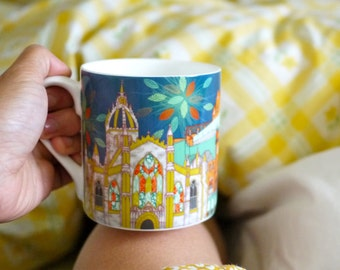 "Colourful ""Scenes of Edinburgh"" Fine Bone China Mug"