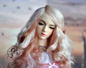 "Long BJD Wig Angora - Strawberry Marshmallow (two colors) 7-8"" 8-9"" 9-10"" FREE SHIPPING"