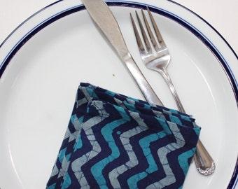 BLUE cloth dinner napkins - batik print - set of 4 handmade cotton napkins - rustic House of Mayil - wedding hostess gift chevron