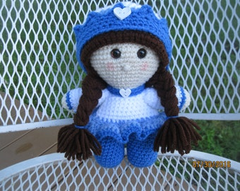 Crocheted big head doll....Little princess with crown and hearts