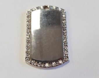 Nickel Tag/Pendant with Cubic Zirconia