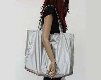 Tote Bag / Shopping bag / Silver Water Resistant Bag