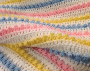 Baby Blanket, Blue, Yellow, Pink