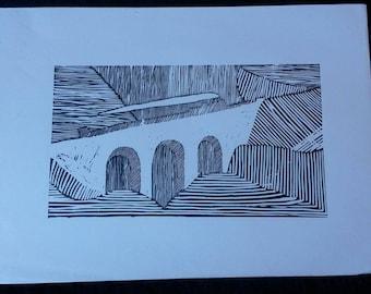 Black Train Lino Print
