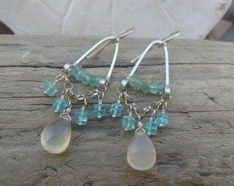 Chandelier Gemstone Earrings with aqua chalcedony and aquamarine