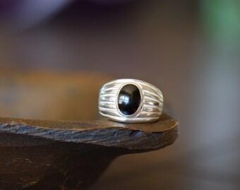 Mens Vintage Silver 925 Black Onyx Gemstone Ring, US Size 9.5, Used