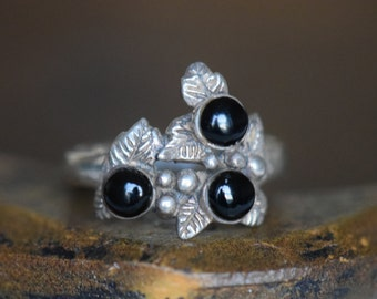 Vintage Black Onyx Three Stone Leaf Silver 925 Ring, Us Size 9.5, Used