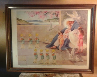 "1924 VINTAGE PRINT/ Collage, Christ  Blessing the Children,  ""Outsider"" Art"
