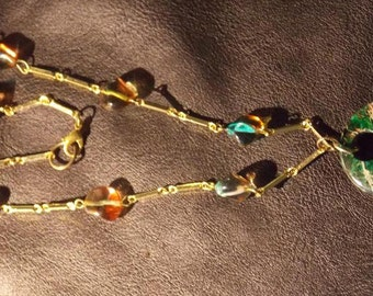 Brass Malachite, Gold Plated Chain