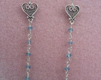 London Blue Topaz and Sterling Silver Heart Earrings