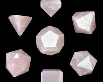 339 Ct 7 Dice Rpg Gemstone Rose Quartz Blank W Wooden Box Free Shipping 74