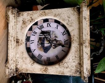 Alice in Wonderland Clock. Alice in Wonderland. Distressed Clock. Shabby Chic Clock. Mantel Clock. Unusual Clock. Shabby Chic. Clock. Alice.