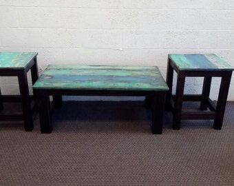Reclaimed Wood Coastal Style Living Room Tables Set, Coffee Table With Two End  Tables.