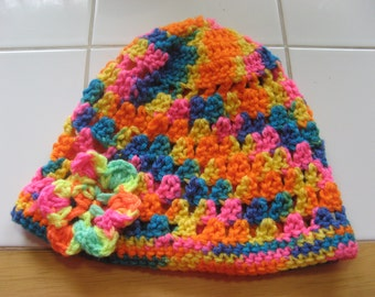 Toddler Cluster Stitch Crochet Hat with Flower Accent