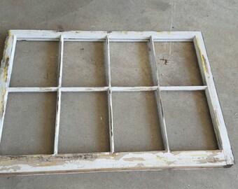 8 pane vintage antique wood farm window distressed frame sash no glass - Windowpane Frame