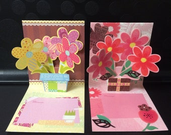 Pop Out Mini Greeting Card - Flower Bouquet Set of 2
