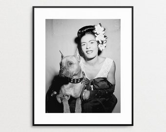 Billie Holiday and Her Dog Mister - Lady Day - Boxer Dog - Vintage Photograph - Jazz Musician Wall Art - Black and White - Vintage Dog Art