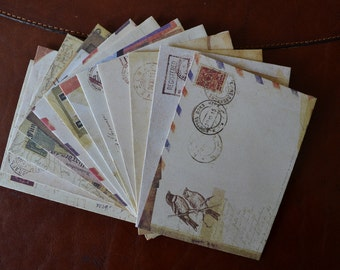 Set Of 12 Vintage Mini Envelope