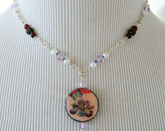 Handmade Choker Reversible Pendant Necklace, Decoupage, Polymer Clay, OOAK, Repurposed, Silver Tone, Barrel Clasp, Choker