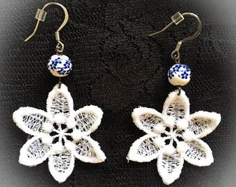 Summer Light Lace Flower Earrings