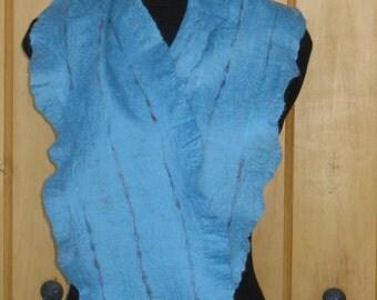 100% Top Merino Wool Aqua Blue Scarf; Hand Felted Scarf