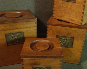 Set of 4 Wooden Dovetail Nesting Canisters Vintage Americana Wooden Boxes with Lids