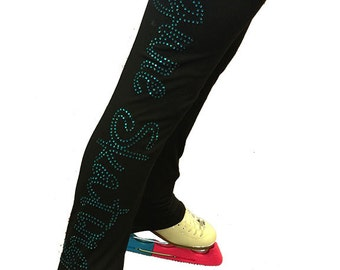 Rhinestone figure skating warm up pants