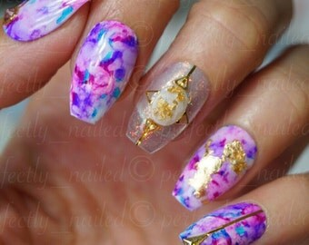 Multi watercolour effect nails with gold leaf, crystals and mermaid dust • Handpainted False Nails • Fake Nails • Press on Nails • Stick on