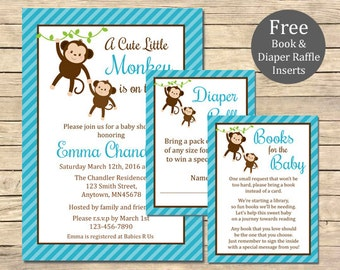 Blue Monkey Baby Shower Printable Invitation, Book Insert & Diaper Insert, Monkey Baby Shower Invite Package, Blue, Boy, Download, 006-B