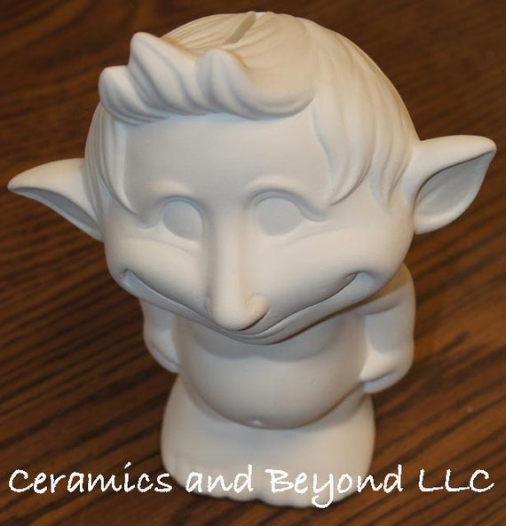 Ceramic bisque jimmy troll piggy bank from for How to paint a ceramic piggy bank
