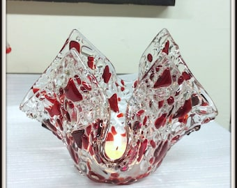 Fused glass candle holder OOAK Red Art Glass