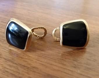 Vintage Black Gold Tone Clip On Earrings