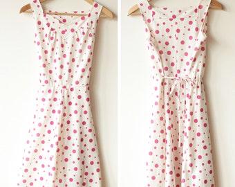 French VINTAGE 60's / pink dots dress / SUMMER dress / Pin-up dress