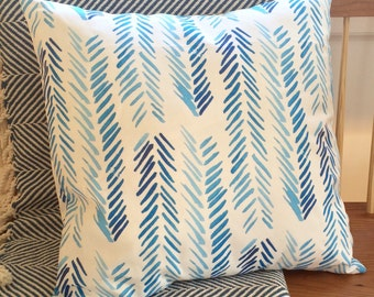 "Blue Chevron Pillow (20"" x 20"")"