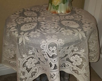 lace table cloth, vintage, shabby chic lace table cloth, shabby chic, lace
