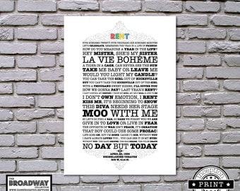 Rent - Unframed - Quotes - Lyrics - Typography Print