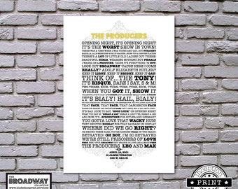 The Producers - Broadway Collection - DIGITAL FILES ONLY - Quotes - Lyrics - Typography Print - Custom Print