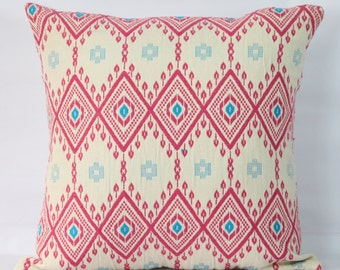 Geometric pink throw pillow 18x18 pillow covers 24x24 sofa pillows throw pillow pink decorative pillows multi color throw pillow cases blue