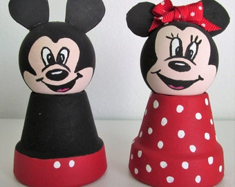Hand-Painted Clay Pot Miniature Shelf-sitters - Mickey and Minnie Mouse, set of 2
