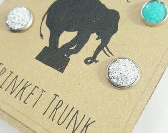 Druzy Earrings Stainless Steel