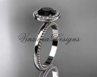 platinum engagement ring, Black Diamond VD10078
